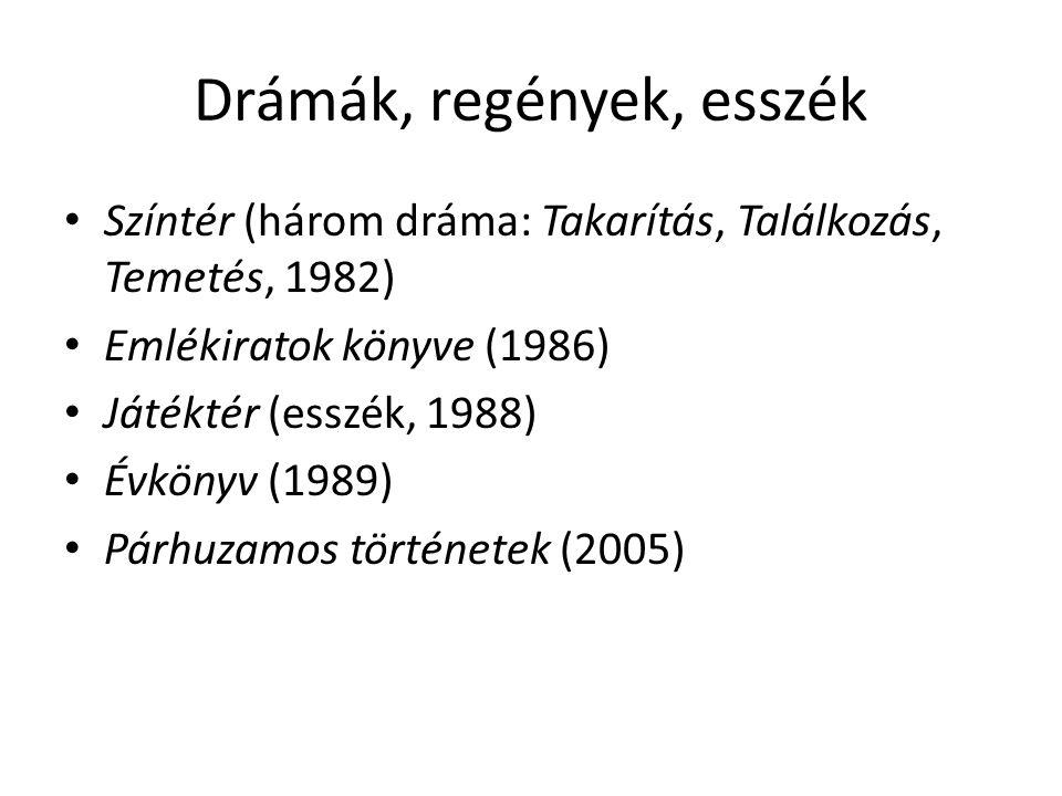 Drámák, regények, esszék Színtér (három dráma: Takarítás, Találkozás, Temetés, 1982) Emlékiratok könyve (1986) Játéktér (esszék, 1988) Évkönyv (1989)