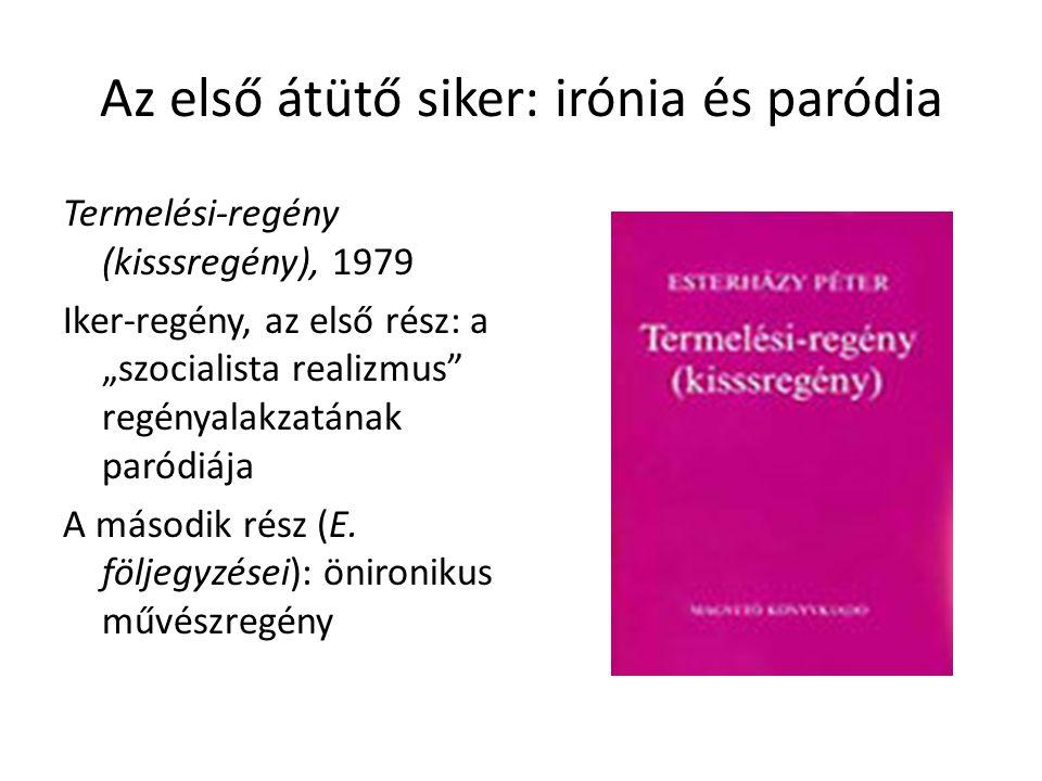 """Az első átütő siker: irónia és paródia Termelési-regény (kisssregény), 1979 Iker-regény, az első rész: a """"szocialista realizmus"""" regényalakzatának par"""