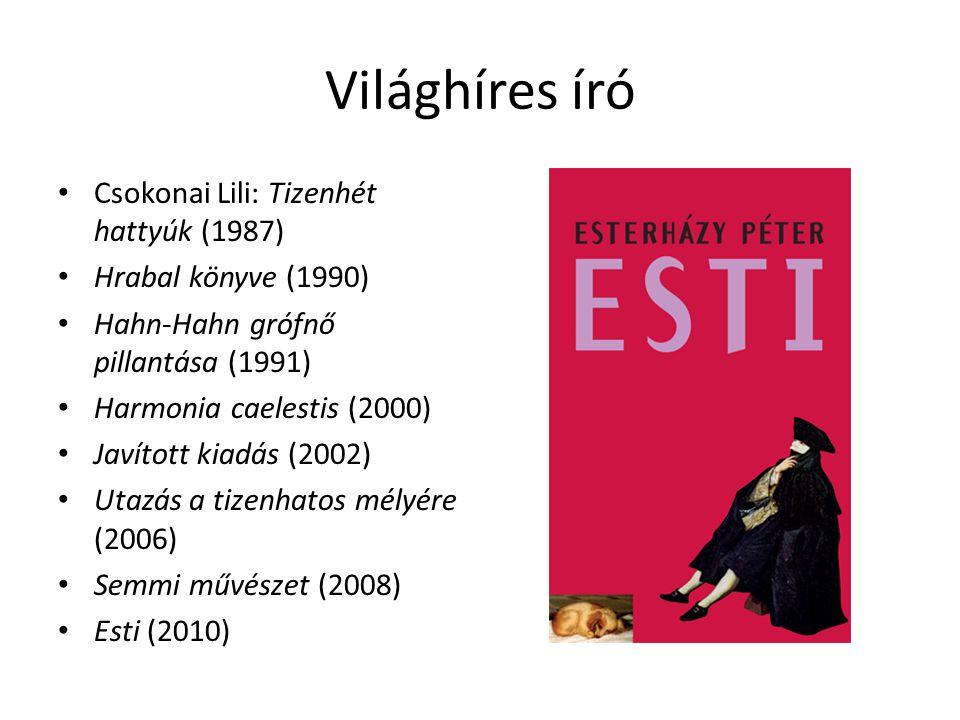 Világhíres író Csokonai Lili: Tizenhét hattyúk (1987) Hrabal könyve (1990) Hahn-Hahn grófnő pillantása (1991) Harmonia caelestis (2000) Javított kiadá