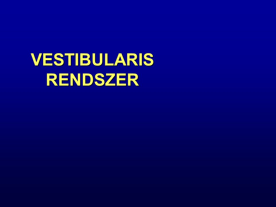 A Vestibularis Rendszer Áttekintése Egyensúly, az egyes testhelyzetekben az izomtónus szabályozásért felelős Egyensúly, az egyes testhelyzetekben az izomtónus szabályozásért felelős Információt nyújt a fej térbeli helyzetéről és angularis (szög) valamint lineáris gyorsulásáról Információt nyújt a fej térbeli helyzetéről és angularis (szög) valamint lineáris gyorsulásáról Érző receptorok: belső fül - labyrintusban Érző receptorok: belső fül - labyrintusban Károsodás: egyensúlyzavar, szédülés, hányinger, fej oldalra fordulás Károsodás: egyensúlyzavar, szédülés, hányinger, fej oldalra fordulás