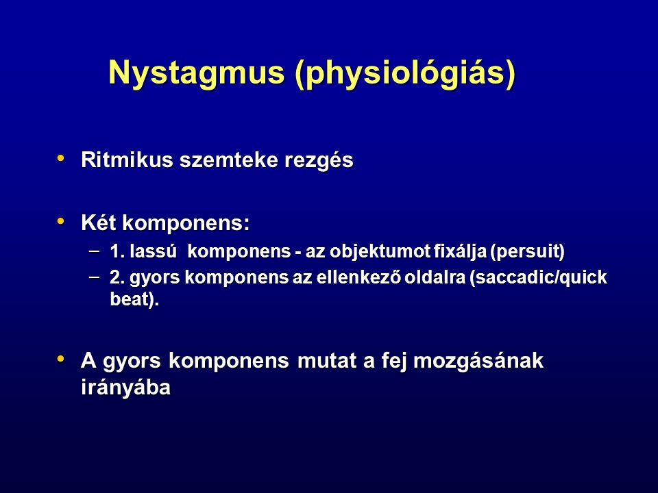 Nystagmus (physiológiás) Ritmikus szemteke rezgés Ritmikus szemteke rezgés Két komponens: Két komponens: – 1. lassú komponens - az objektumot fixálja