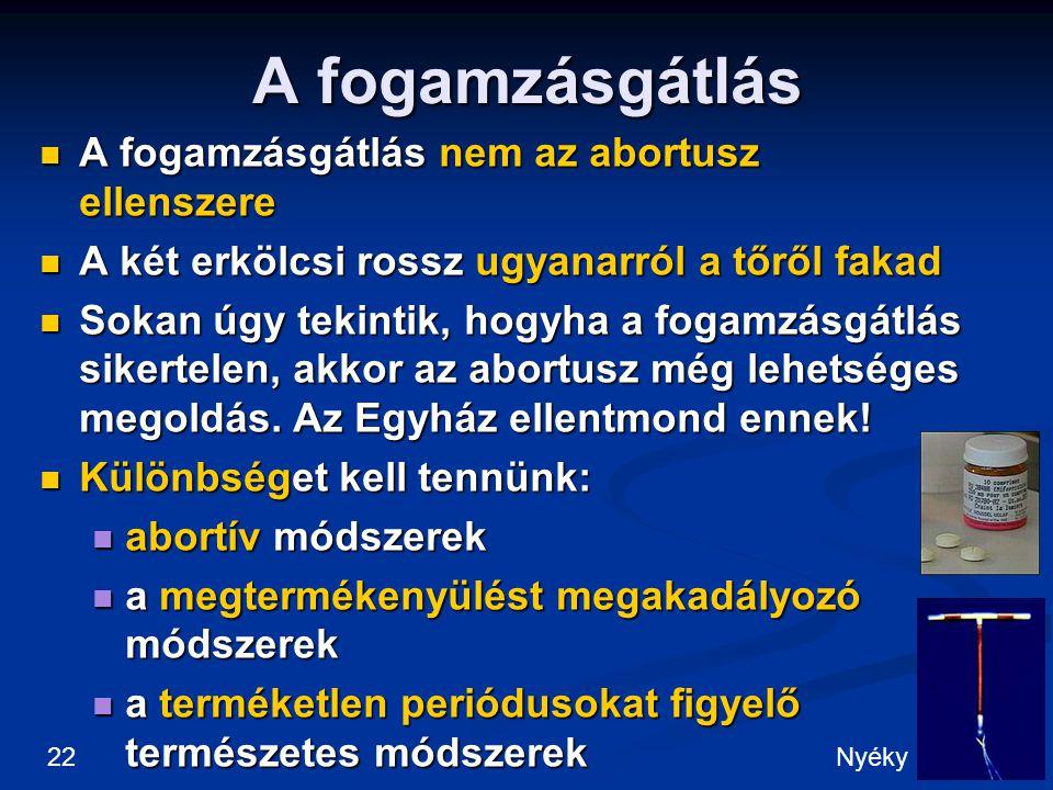 A fogamzásgátlás A fogamzásgátlás nem az abortusz ellenszere A fogamzásgátlás nem az abortusz ellenszere A két erkölcsi rossz ugyanarról a tőről fakad A két erkölcsi rossz ugyanarról a tőről fakad Sokan úgy tekintik, hogyha a fogamzásgátlás sikertelen, akkor az abortusz még lehetséges megoldás.