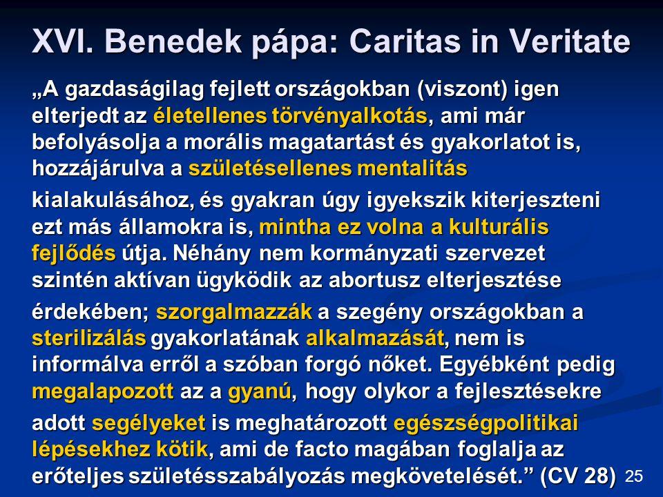 """XVI. Benedek pápa: Caritas in Veritate """"A gazdaságilag fejlett országokban (viszont) igen elterjedt az életellenes törvényalkotás, ami már befolyásolj"""