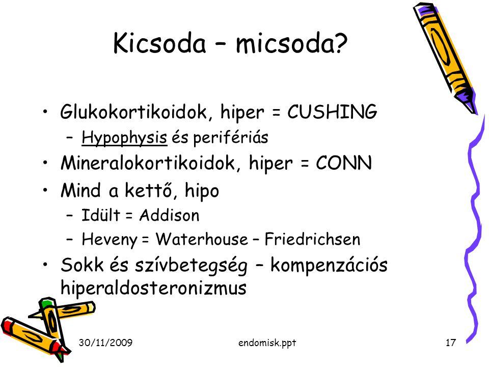 30/11/2009endomisk.ppt17 Kicsoda – micsoda? Glukokortikoidok, hiper = CUSHING –Hypophysis és perifériás Mineralokortikoidok, hiper = CONN Mind a kettő