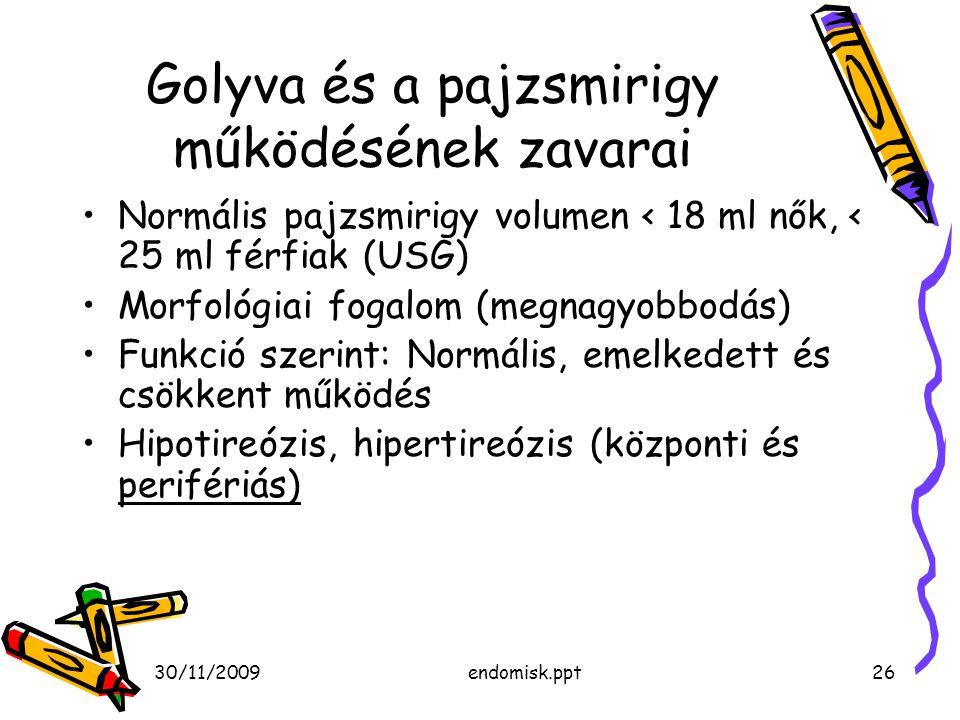 30/11/2009endomisk.ppt26 Golyva és a pajzsmirigy működésének zavarai Normális pajzsmirigy volumen < 18 ml nők, < 25 ml férfiak (USG) Morfológiai fogal
