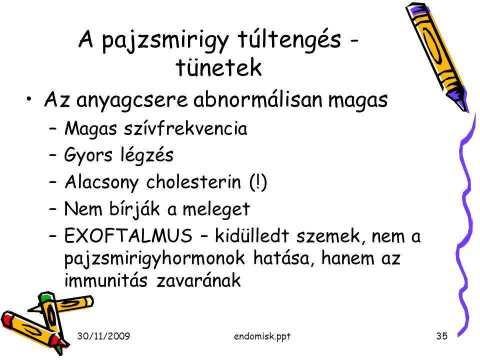 30/11/2009endomisk.ppt35 A pajzsmirigy túltengés - tünetek Az anyagcsere abnormálisan magas –Magas szívfrekvencia –Gyors légzés –Alacsony cholesterin