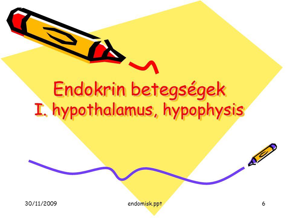 30/11/2009endomisk.ppt6 Endokrin betegségek I. hypothalamus, hypophysis