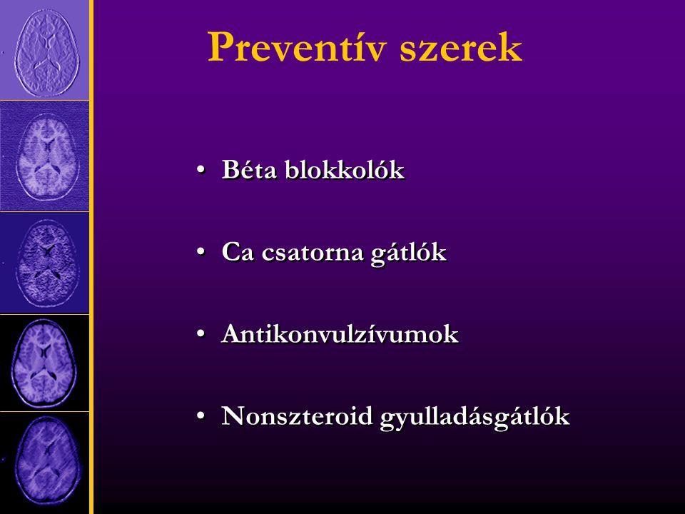 Preventív szerek Béta blokkolók Ca csatorna gátlók Antikonvulzívumok Nonszteroid gyulladásgátlók Béta blokkolók Ca csatorna gátlók Antikonvulzívumok Nonszteroid gyulladásgátlók