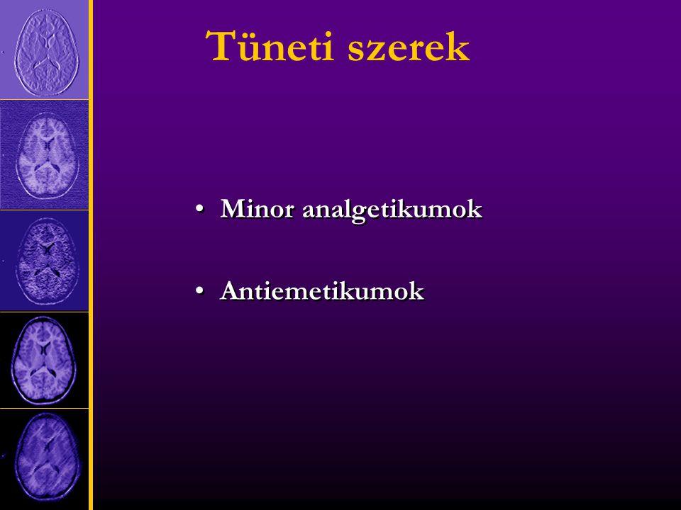 Tüneti szerek Minor analgetikumok Antiemetikumok Minor analgetikumok Antiemetikumok
