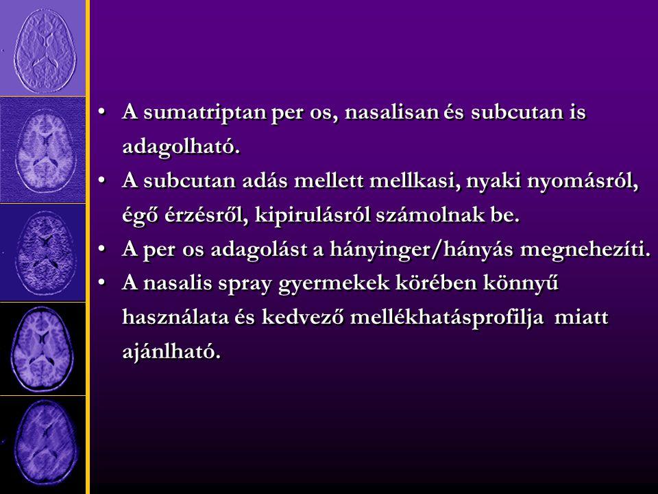 A sumatriptan per os, nasalisan és subcutan is adagolható.