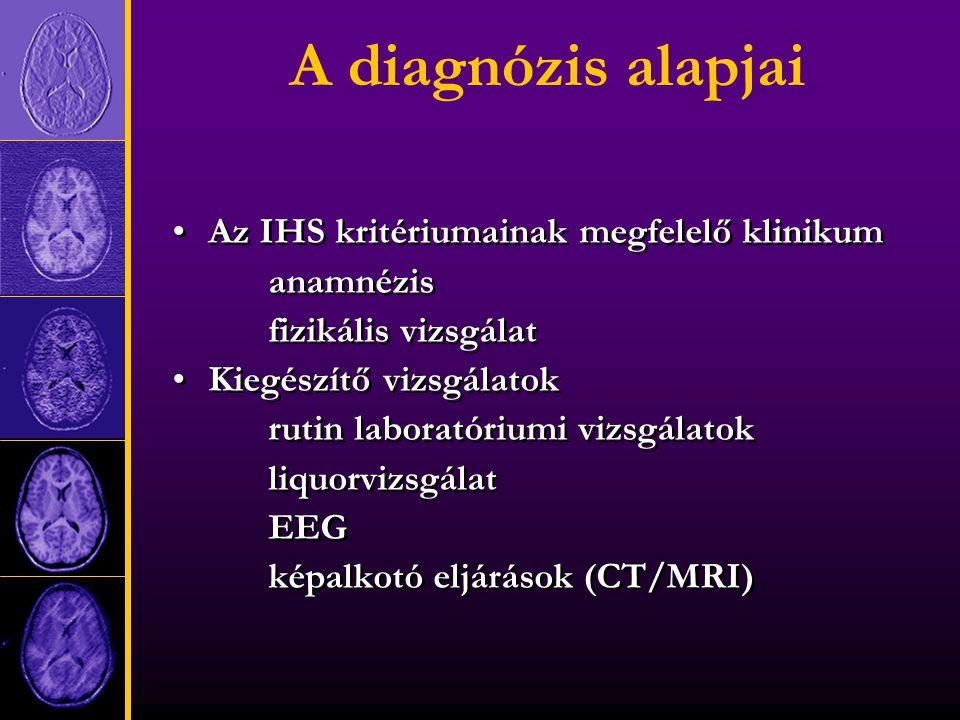 A diagnózis alapjai Az IHS kritériumainak megfelelő klinikum anamnézis fizikális vizsgálat Kiegészítő vizsgálatok rutin laboratóriumi vizsgálatok liquorvizsgálat EEG képalkotó eljárások (CT/MRI) Az IHS kritériumainak megfelelő klinikum anamnézis fizikális vizsgálat Kiegészítő vizsgálatok rutin laboratóriumi vizsgálatok liquorvizsgálat EEG képalkotó eljárások (CT/MRI)