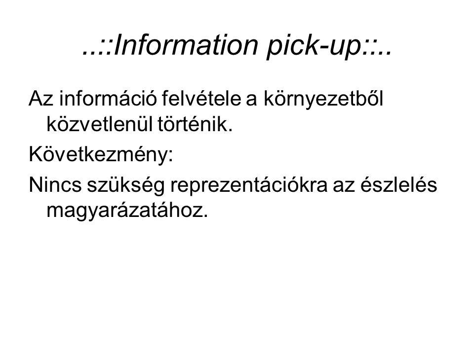 ..::Information pick-up::.. Az információ felvétele a környezetből közvetlenül történik. Következmény: Nincs szükség reprezentációkra az észlelés magy
