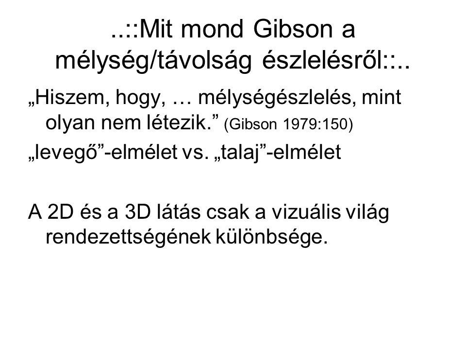 """..::Mit mond Gibson a mélység/távolság észlelésről::.. """"Hiszem, hogy, … mélységészlelés, mint olyan nem létezik."""" (Gibson 1979:150) """"levegő""""-elmélet v"""