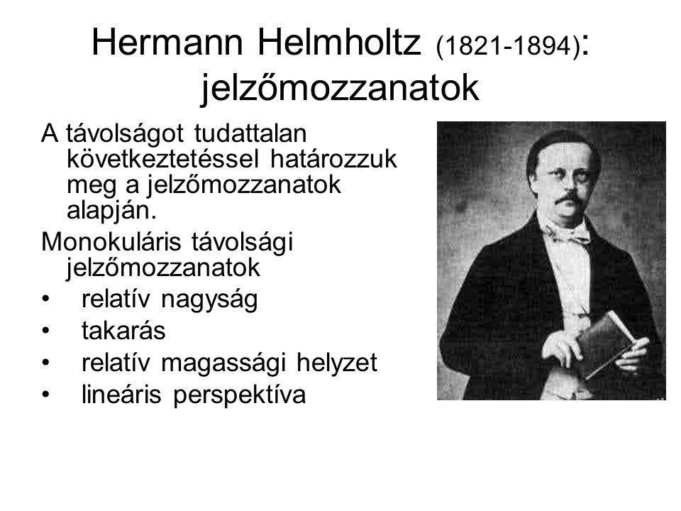 Hermann Helmholtz (1821-1894) : jelzőmozzanatok A távolságot tudattalan következtetéssel határozzuk meg a jelzőmozzanatok alapján. Monokuláris távolsá