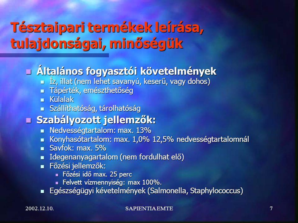2002.12.10.SAPIENTIA EMTE7 Tésztaipari termékek leírása, tulajdonságai, minőségük Általános fogyasztói követelmények Általános fogyasztói követelmények Íz, illat (nem lehet savanyú, keserű, vagy dohos) Íz, illat (nem lehet savanyú, keserű, vagy dohos) Tápérték, emészthetőség Tápérték, emészthetőség Külalak Külalak Szállíthatóság, tárolhatóság Szállíthatóság, tárolhatóság Szabályozott jellemzők: Szabályozott jellemzők: Nedvességtartalom: max.