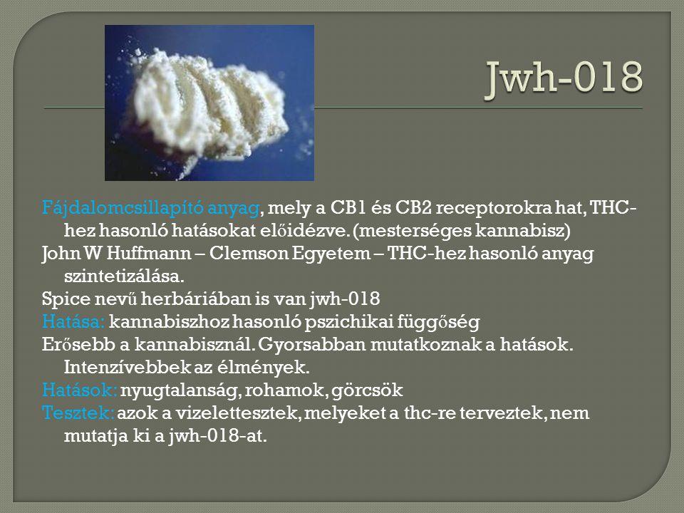 Fájdalomcsillapító anyag, mely a CB1 és CB2 receptorokra hat, THC- hez hasonló hatásokat el ő idézve.