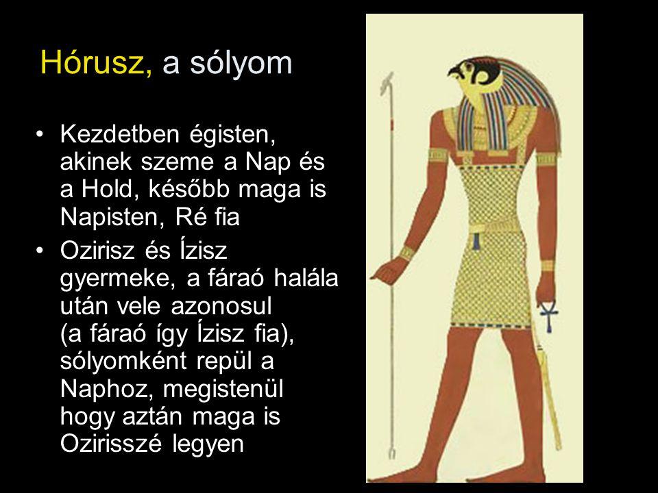 Hórusz, a sólyom Kezdetben égisten, akinek szeme a Nap és a Hold, később maga is Napisten, Ré fia Ozirisz és Ízisz gyermeke, a fáraó halála után vele azonosul (a fáraó így Ízisz fia), sólyomként repül a Naphoz, megistenül hogy aztán maga is Ozirisszé legyen