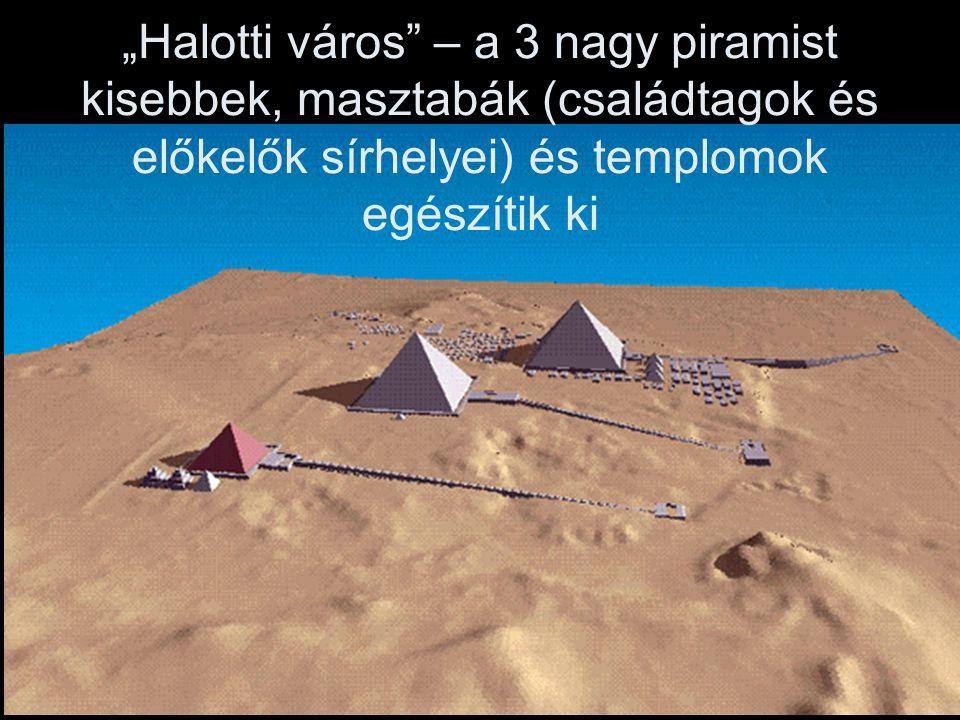 """""""Halotti város – a 3 nagy piramist kisebbek, masztabák (családtagok és előkelők sírhelyei) és templomok egészítik ki"""