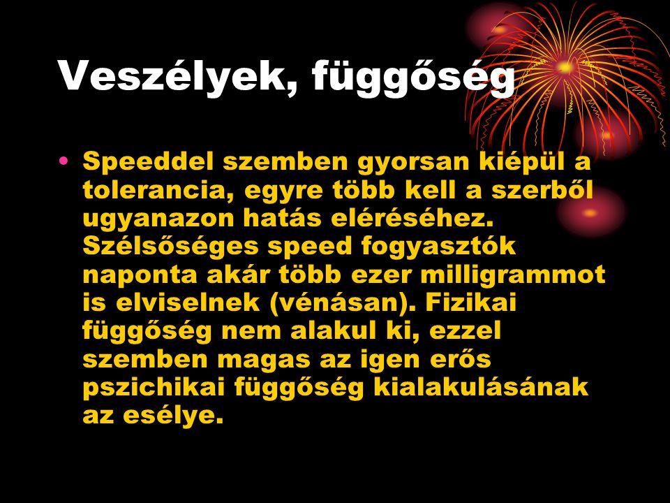 Veszélyek, függőség Speeddel szemben gyorsan kiépül a tolerancia, egyre több kell a szerből ugyanazon hatás eléréséhez. Szélsőséges speed fogyasztók n