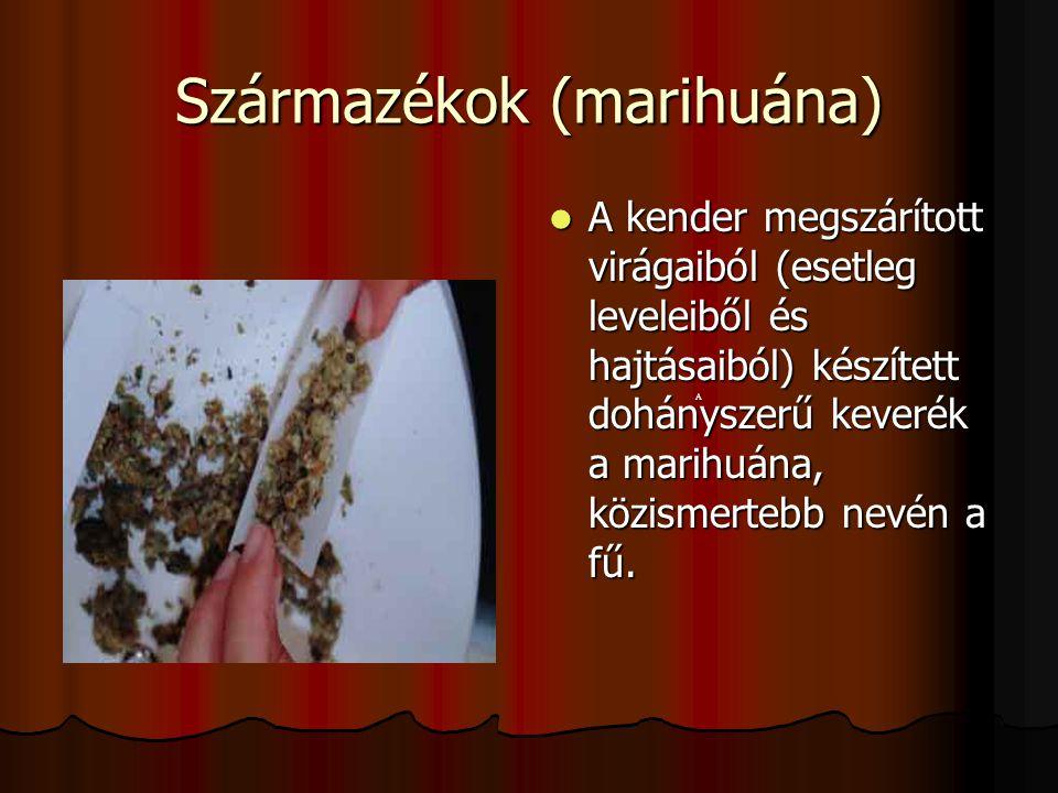 Származékok (marihuána) A kender megszárított virágaiból (esetleg leveleiből és hajtásaiból) készített dohányszerű keverék a marihuána, közismertebb n