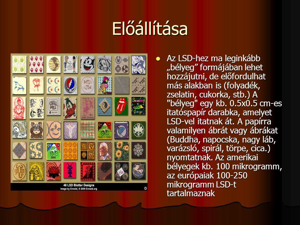 """Előállítása Az LSD-hez ma leginkább """"bélyeg"""" formájában lehet hozzájutni, de előfordulhat más alakban is (folyadék, zselatin, cukorka, stb.) A"""