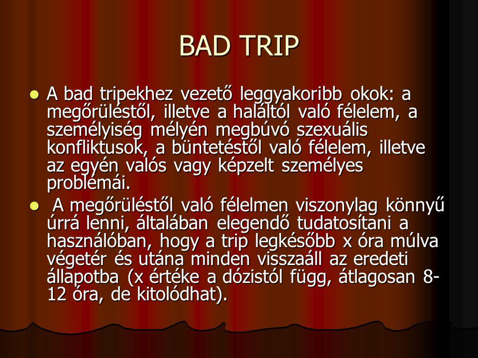 BAD TRIP A bad tripekhez vezető leggyakoribb okok: a megőrüléstől, illetve a haláltól való félelem, a személyiség mélyén megbúvó szexuális konfliktuso