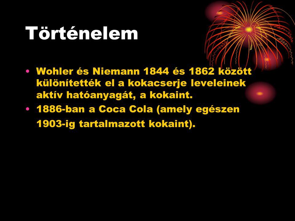 Történelem Wohler és Niemann 1844 és 1862 között különítették el a kokacserje leveleinek aktív hatóanyagát, a kokaint. 1886-ban a Coca Cola (amely egé