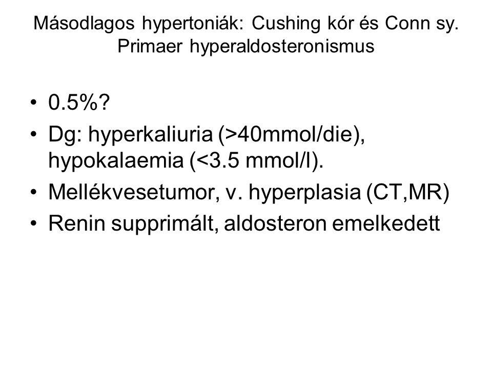 Másodlagos hypertoniák: Cushing kór és Conn sy. Primaer hyperaldosteronismus 0.5%? Dg: hyperkaliuria (>40mmol/die), hypokalaemia (<3.5 mmol/l). Mellék