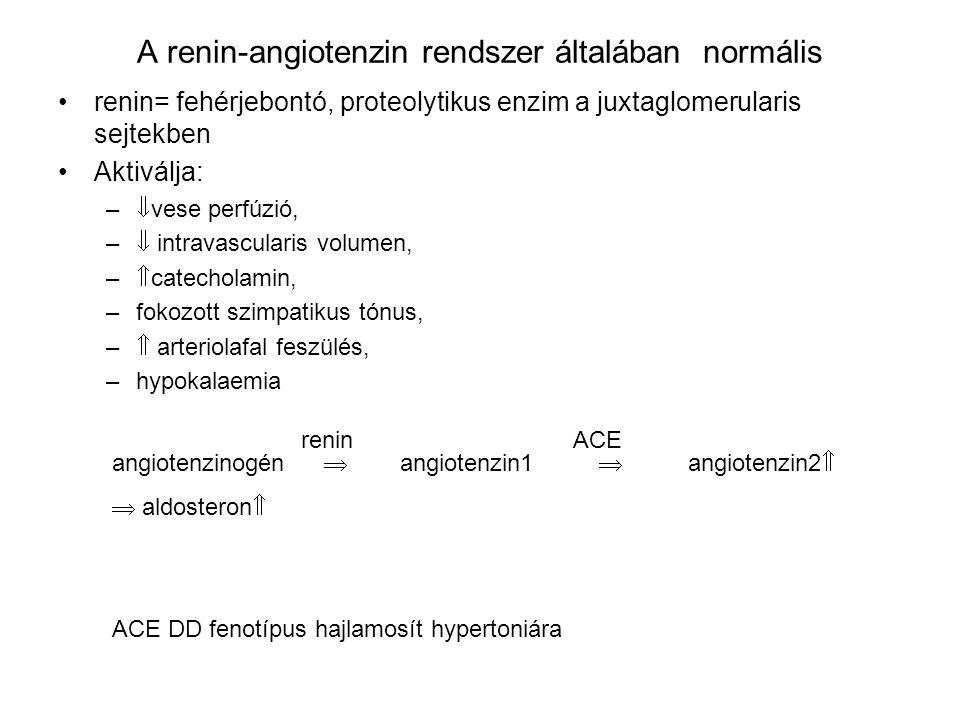 A renin-angiotenzin rendszer általában normális renin= fehérjebontó, proteolytikus enzim a juxtaglomerularis sejtekben Aktiválja: –  vese perfúzió, –  intravascularis volumen, –  catecholamin, –fokozott szimpatikus tónus, –  arteriolafal feszülés, –hypokalaemia angiotenzinogén  angiotenzin1  angiotenzin2   aldosteron  reninACE ACE DD fenotípus hajlamosít hypertoniára