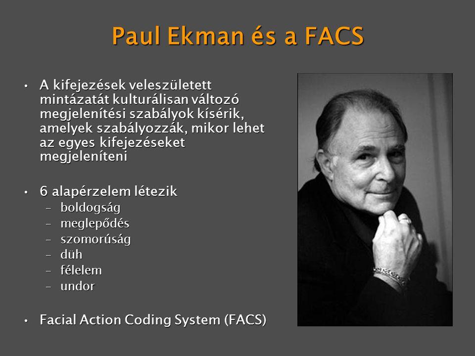 Paul Ekman és a FACS A kifejezések veleszületett mintázatát kulturálisan változó megjelenítési szabályok kísérik, amelyek szabályozzák, mikor lehet az