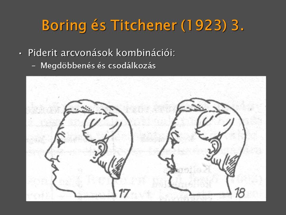 Boring és Titchener (1923) 3. Piderit arcvonások kombinációi:Piderit arcvonások kombinációi: –Megdöbbenés és csodálkozás