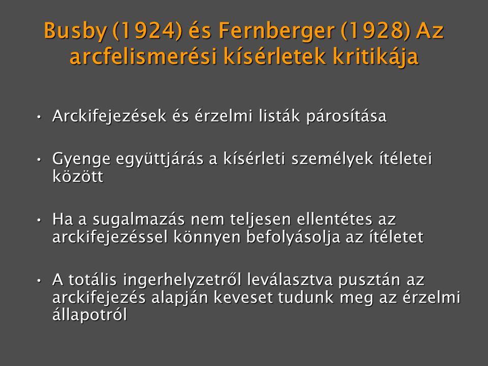 Busby (1924) és Fernberger (1928) Az arcfelismerési kísérletek kritikája Arckifejezések és érzelmi listák párosításaArckifejezések és érzelmi listák p