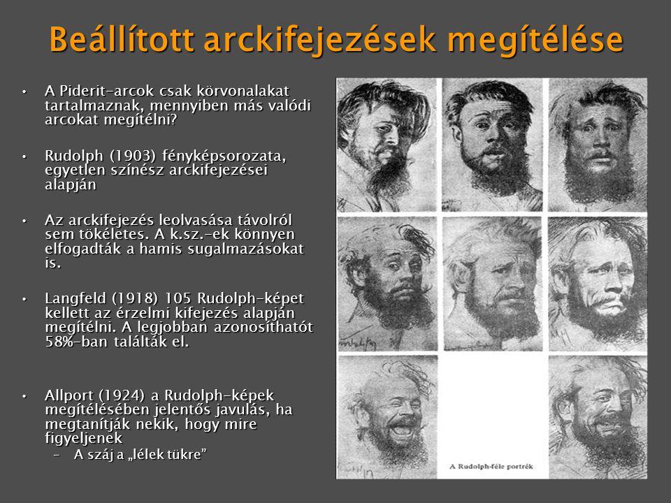 Beállított arckifejezések megítélése A Piderit-arcok csak körvonalakat tartalmaznak, mennyiben más valódi arcokat megítélni?A Piderit-arcok csak körvo
