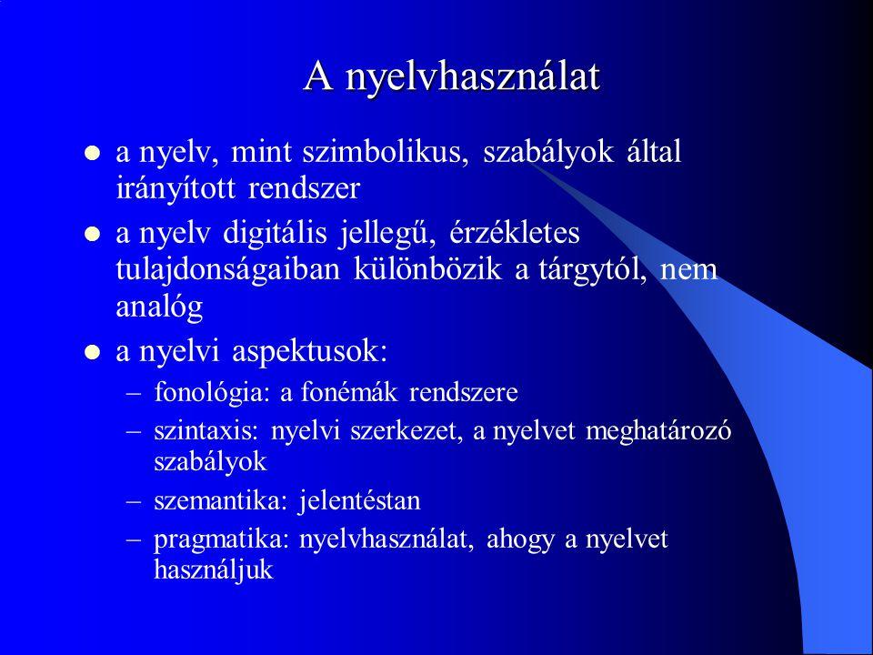 A nyelvhasználat a nyelv, mint szimbolikus, szabályok által irányított rendszer a nyelv digitális jellegű, érzékletes tulajdonságaiban különbözik a tárgytól, nem analóg a nyelvi aspektusok: –fonológia: a fonémák rendszere –szintaxis: nyelvi szerkezet, a nyelvet meghatározó szabályok –szemantika: jelentéstan –pragmatika: nyelvhasználat, ahogy a nyelvet használjuk