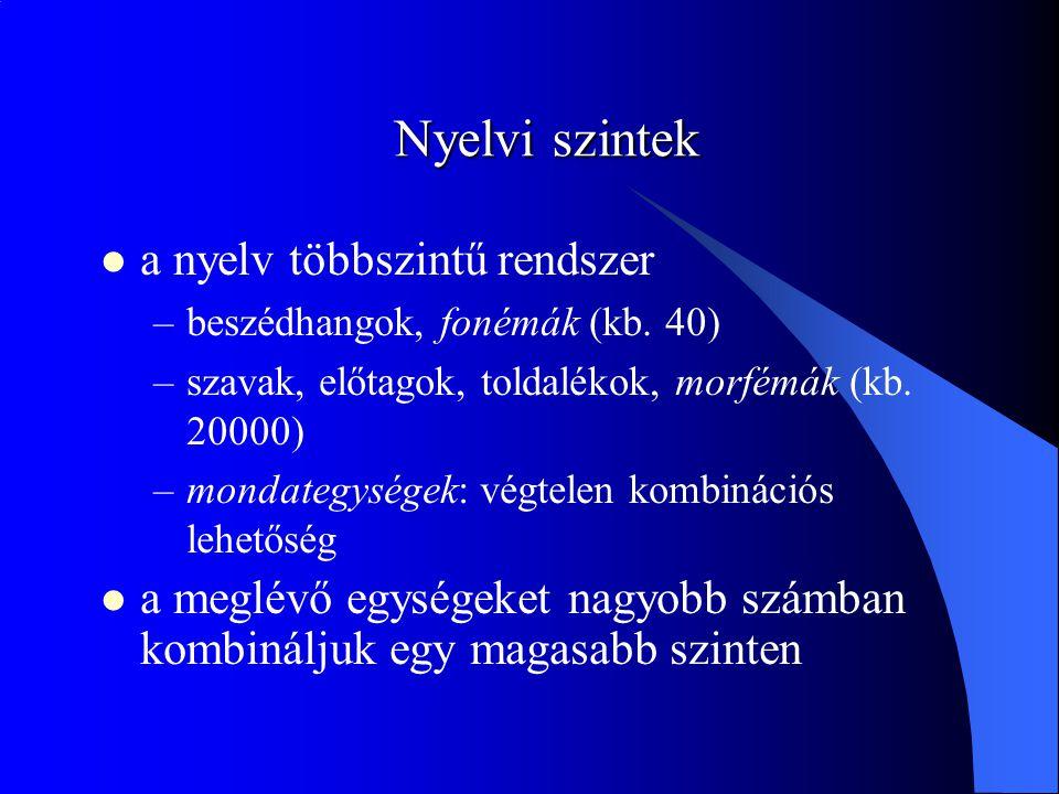 Nyelvi szintek a nyelv többszintű rendszer –beszédhangok, fonémák (kb.