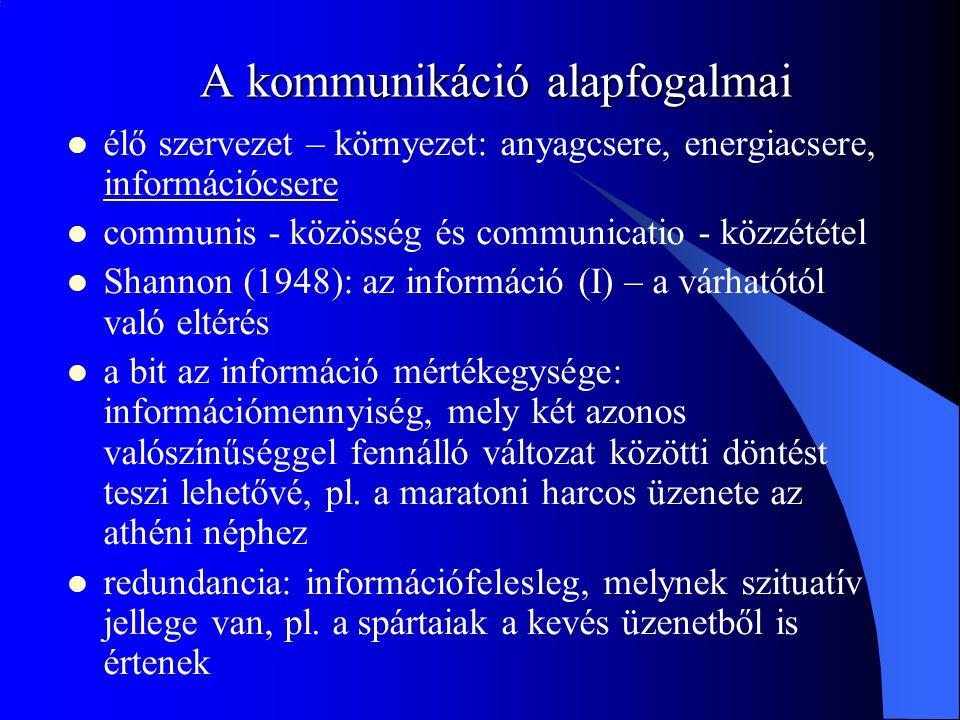 A kommunikáció alapfogalmai élő szervezet – környezet: anyagcsere, energiacsere, információcsere communis - közösség és communicatio - közzététel Shannon (1948): az információ (I) – a várhatótól való eltérés a bit az információ mértékegysége: információmennyiség, mely két azonos valószínűséggel fennálló változat közötti döntést teszi lehetővé, pl.