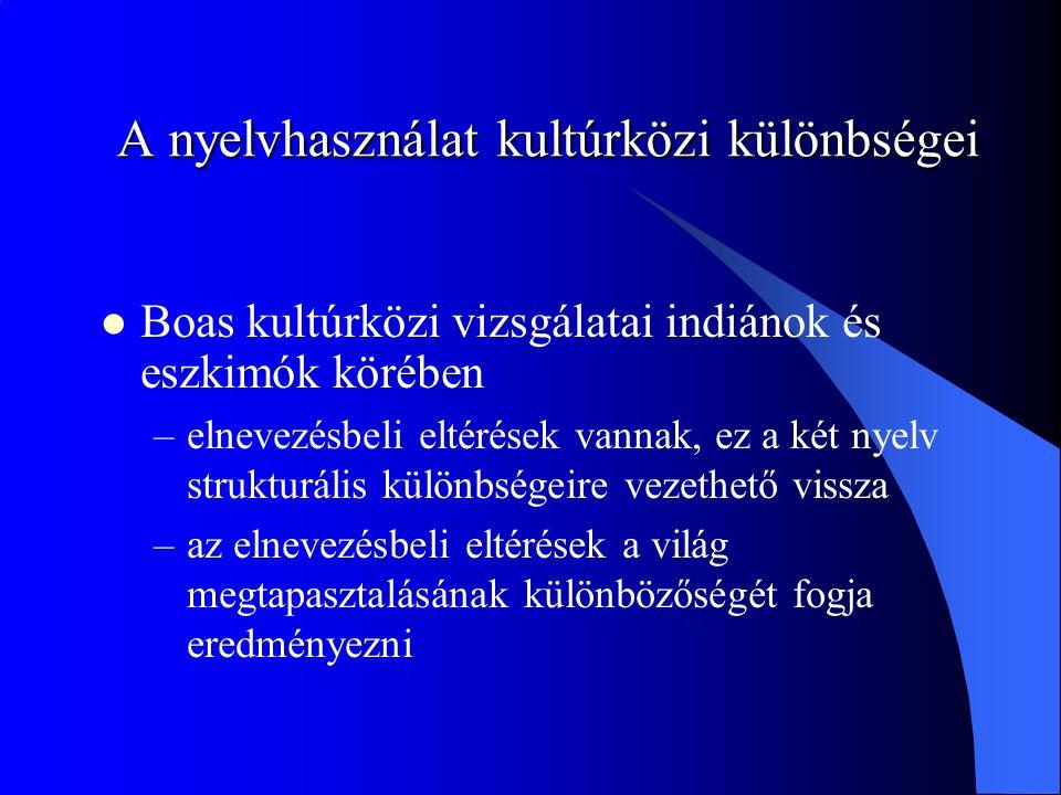 A nyelvhasználat kultúrközi különbségei Boas kultúrközi vizsgálatai indiánok és eszkimók körében –elnevezésbeli eltérések vannak, ez a két nyelv strukturális különbségeire vezethető vissza –az elnevezésbeli eltérések a világ megtapasztalásának különbözőségét fogja eredményezni