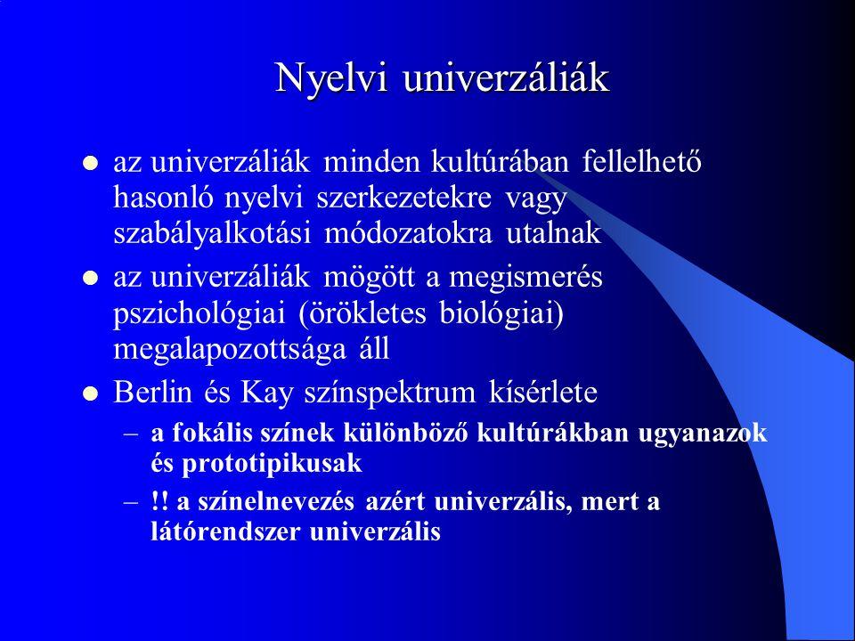 Nyelvi univerzáliák az univerzáliák minden kultúrában fellelhető hasonló nyelvi szerkezetekre vagy szabályalkotási módozatokra utalnak az univerzáliák mögött a megismerés pszichológiai (örökletes biológiai) megalapozottsága áll Berlin és Kay színspektrum kísérlete –a fokális színek különböző kultúrákban ugyanazok és prototipikusak –!.