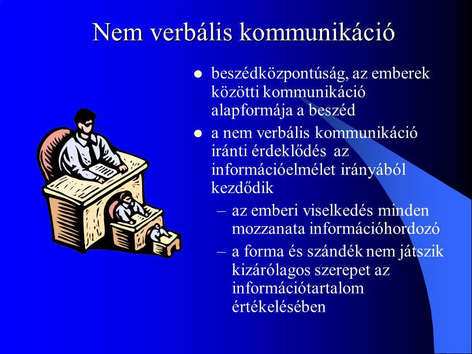 Nem verbális kommunikáció beszédközpontúság, az emberek közötti kommunikáció alapformája a beszéd a nem verbális kommunikáció iránti érdeklődés az információelmélet irányából kezdődik –az emberi viselkedés minden mozzanata információhordozó –a forma és szándék nem játszik kizárólagos szerepet az információtartalom értékelésében