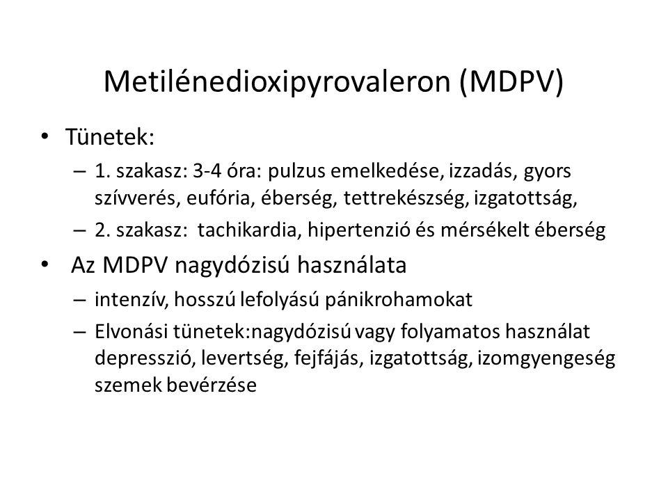 Metilénedioxipyrovaleron (MDPV) Tünetek: – 1. szakasz: 3-4 óra: pulzus emelkedése, izzadás, gyors szívverés, eufória, éberség, tettrekészség, izgatott