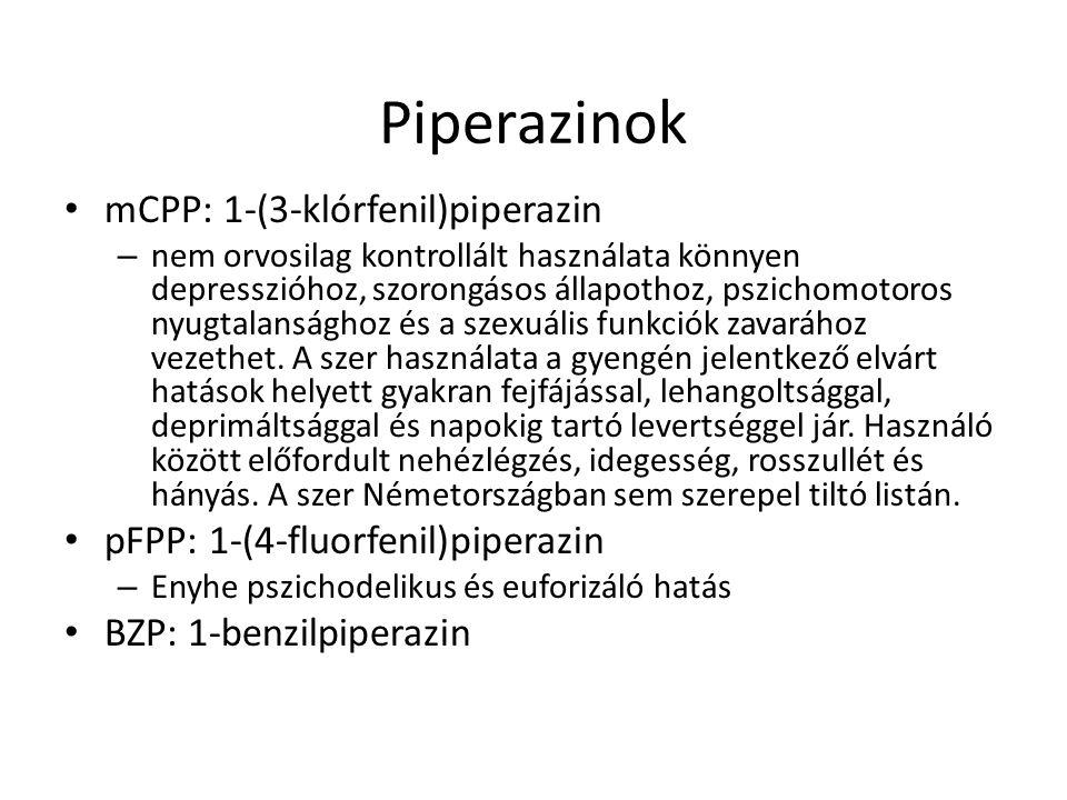 Piperazinok mCPP: 1-(3-klórfenil)piperazin – nem orvosilag kontrollált használata könnyen depresszióhoz, szorongásos állapothoz, pszichomotoros nyugta