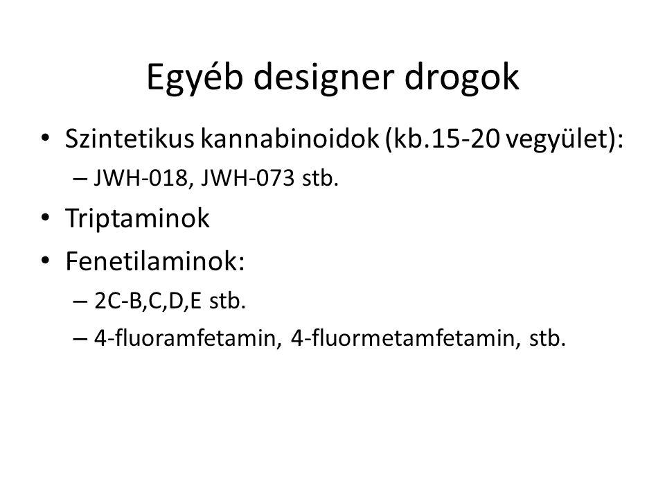 Egyéb designer drogok Szintetikus kannabinoidok (kb.15-20 vegyület): – JWH-018, JWH-073 stb. Triptaminok Fenetilaminok: – 2C-B,C,D,E stb. – 4-fluoramf