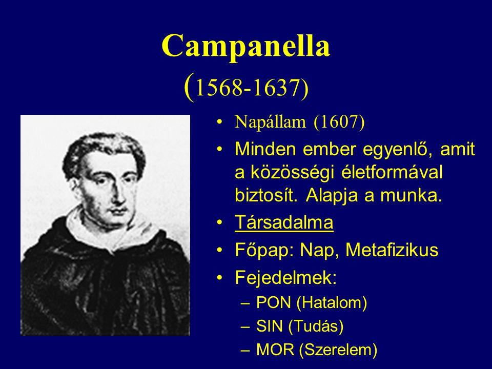 Campanella ( 1568-1637) Napállam (1607) Minden ember egyenlő, amit a közösségi életformával biztosít.