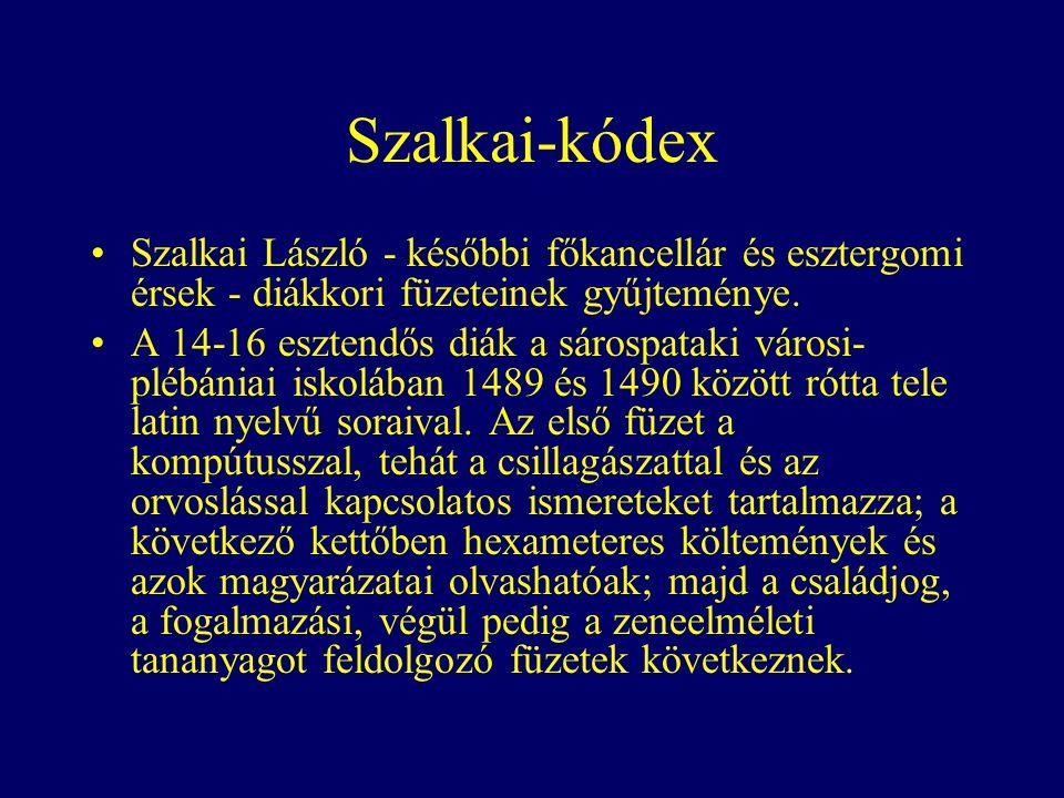 Szalkai-kódex Szalkai László - későbbi főkancellár és esztergomi érsek - diákkori füzeteinek gyűjteménye.