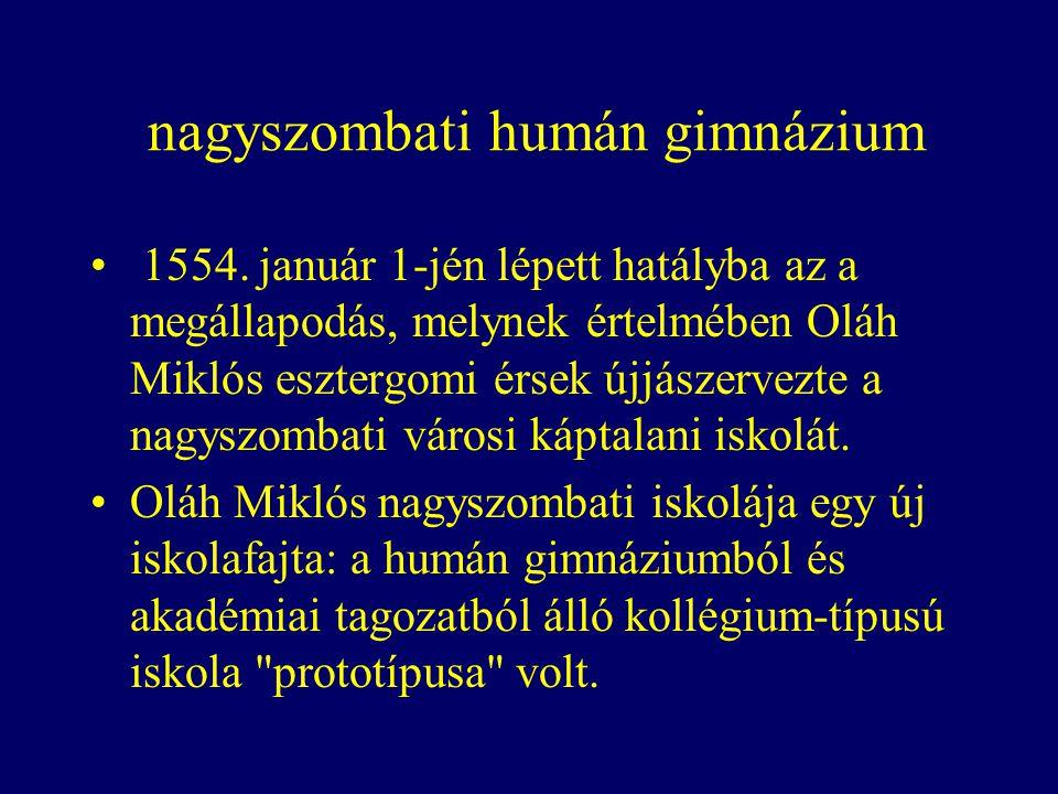 nagyszombati humán gimnázium 1554.