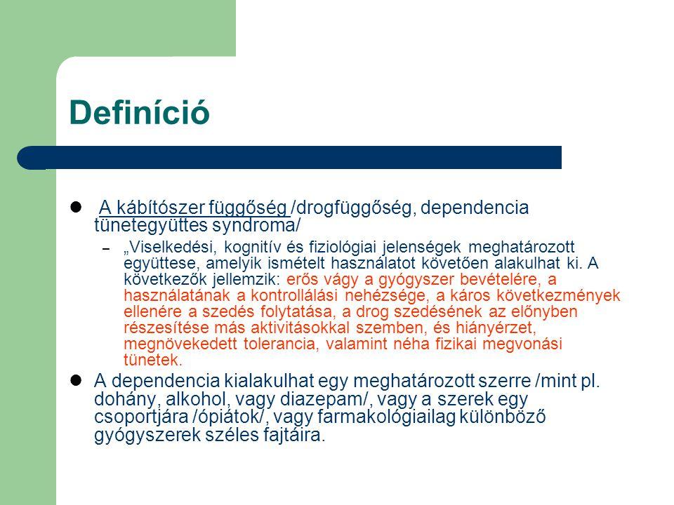 """Definíció A kábítószer függőség /drogfüggőség, dependencia tünetegyüttes syndroma/ – """"Viselkedési, kognitív és fiziológiai jelenségek meghatározott eg"""