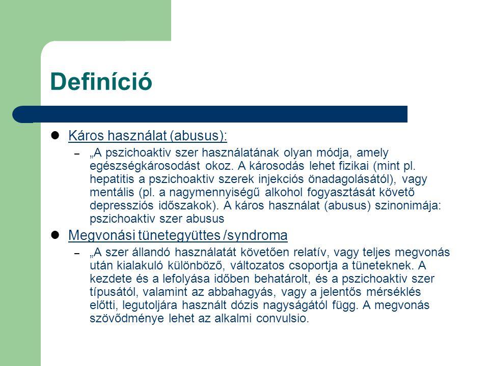 """Definíció Káros használat (abusus): – """"A pszichoaktiv szer használatának olyan módja, amely egészségkárosodást okoz. A károsodás lehet fizikai (mint p"""