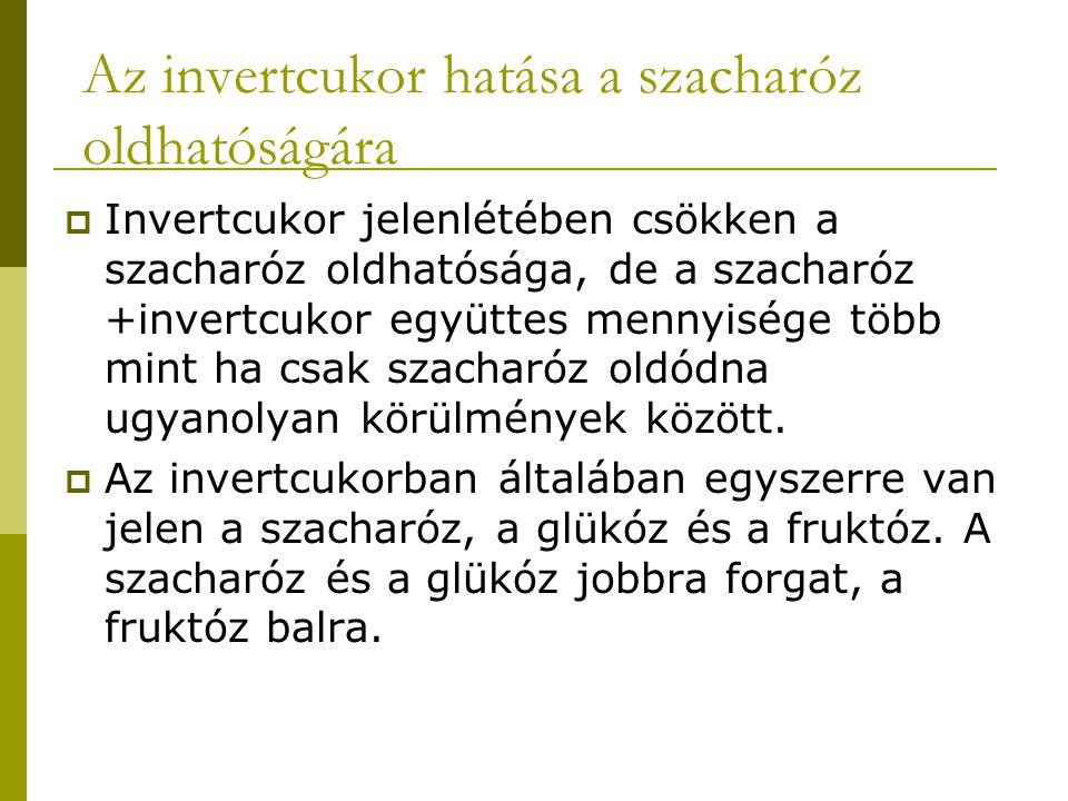 Az invertcukor hatása a szacharóz oldhatóságára  Invertcukor jelenlétében csökken a szacharóz oldhatósága, de a szacharóz +invertcukor együttes menny