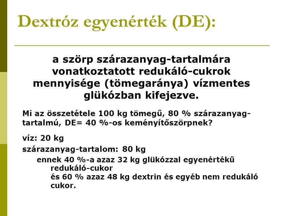 Dextróz egyenérték (DE): a szörp szárazanyag-tartalmára vonatkoztatott redukáló-cukrok mennyisége (tömegaránya) vízmentes glükózban kifejezve. Mi az ö