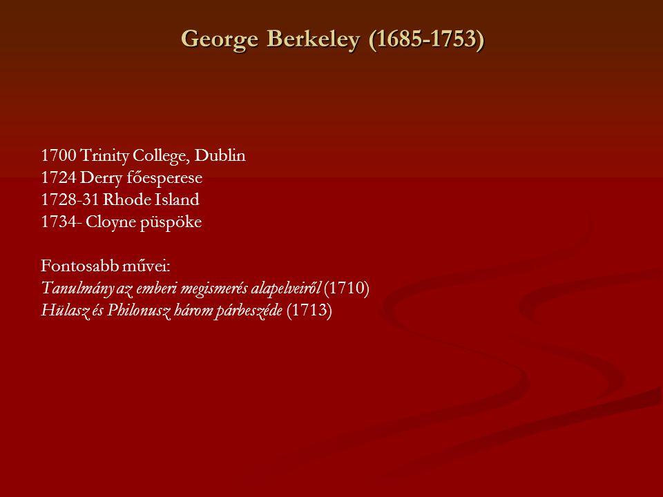 George Berkeley (1685-1753) 1700 Trinity College, Dublin 1724 Derry főesperese 1728-31 Rhode Island 1734- Cloyne püspöke Fontosabb művei: Tanulmány az